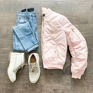 Topshop Pink Quilted Bomber Jacket